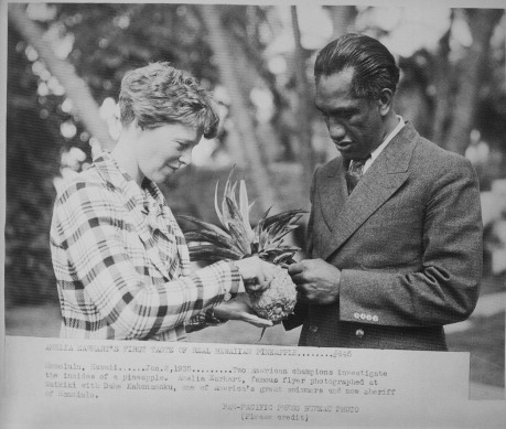 Duke with Amelia Earhart, January 2, 1935